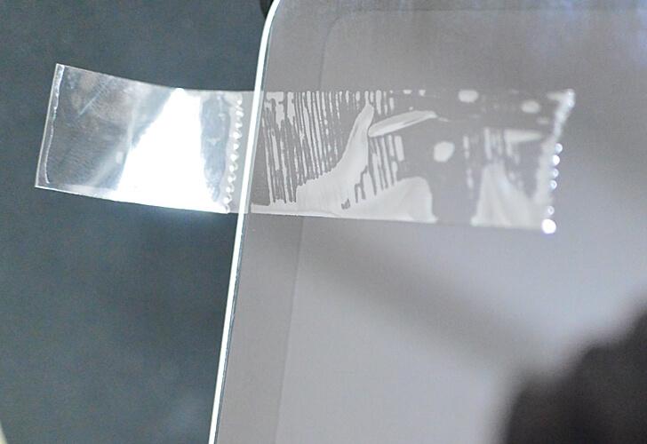 iPadの液晶保護フィルムにセロハンテープを貼った例